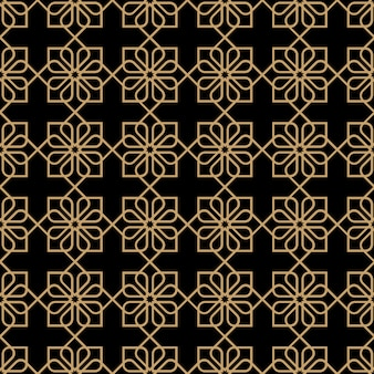 Geometric dark seamless flower pattern in oriental style