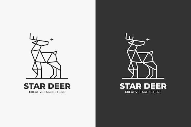 Геометрический логотип монолинии оленей животных