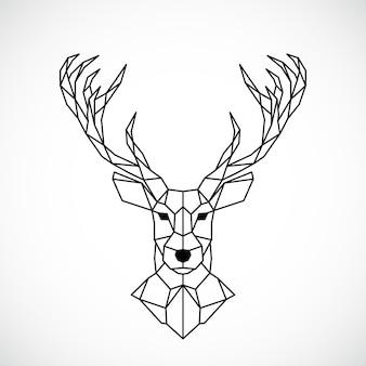 幾何学的な鹿の頭抽象的な多角形のスタイル
