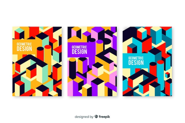 Geometric design covers collection Free Vector