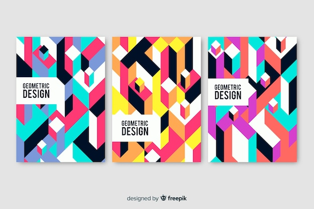 Geometric design covers pack Free Vector