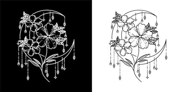 Geometric  design. moon and flowers.