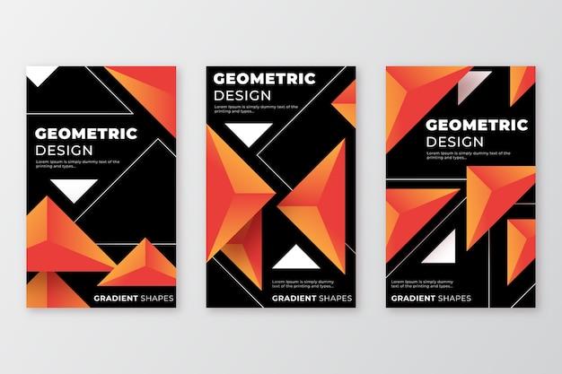Il disegno geometrico modella le copertine su sfondo scuro