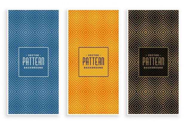 Geometric diamond shape lines abstract pattern banner set