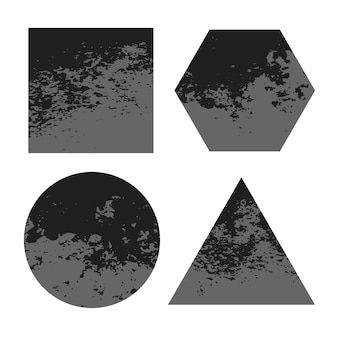 Geometric dirty grunge distressed shapes background set