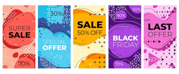 Geometric discount background. offer advertisement, abstract discount poster. mobile social media template, sale coupon vector set. discount social poster, clearance geometric banner illustration