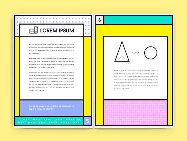 Geometric document template in retro style