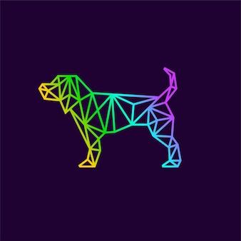 ラインアートの概念を持つ幾何学的な犬のロゴ