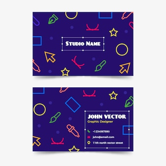 Geometric doodle business card template