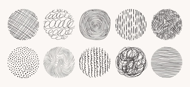 Geometric doodle shapes of spots, dots, circles, strokes, stripes, lines. set of circle hand drawn patterns.   textures made with ink, pencil, brush.