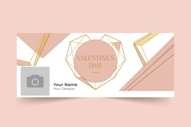 Geometric elegant valentine's day facebook cover