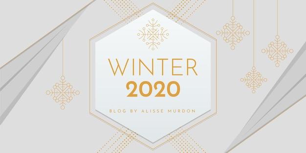 幾何学的でエレガントな冬のブログヘッダー
