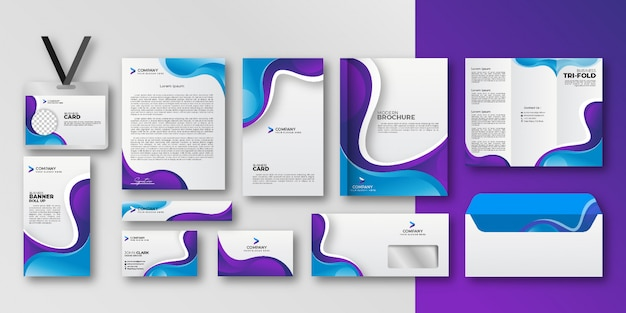 Geometric elements business stationery set collection