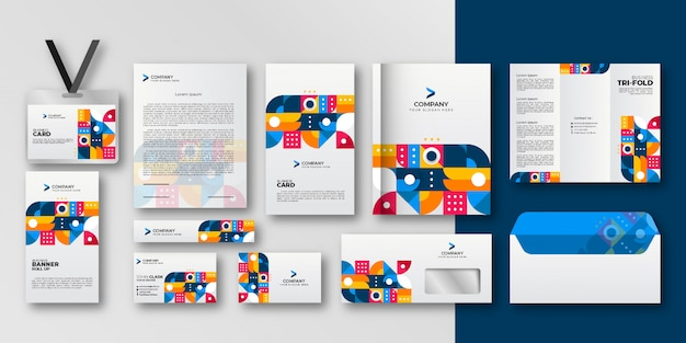 Geometric elements business stationery set