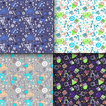 Geometric elements in memphis style, colourful geometric seamless pattern set.