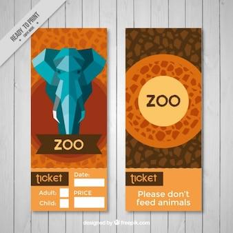幾何学象と抽象的な動物園のバナー