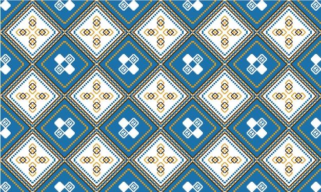 背景、カーペット、壁紙、衣類、ラッピング、バティック、ファブリック、ベクトルのillustration.embroideryスタイルの幾何学的な民族オリエンタルシームレスパターン伝統的なデザイン。 Premiumベクター