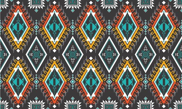 Геометрический этнический узор. ковер, обои, одежда, упаковка, батик, ткань, стиль вышивки векторные иллюстрации.