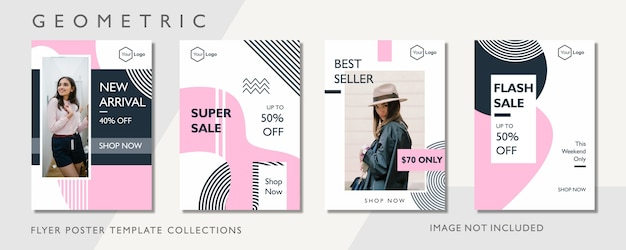 Geometric fashion promotion flyer template
