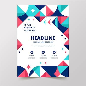 Geometric flat abstract vertical business flyer template