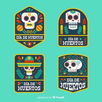 Geometric flat dia de muertos label collection