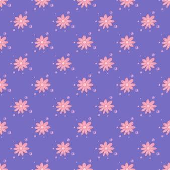 ピンクのカモミールの小さな花の飾りと幾何学的な花のシームレスなパターン。薄紫の背景。紙や布のテクスチャを包むためのグラフィックデザイン。ベクトルイラスト。