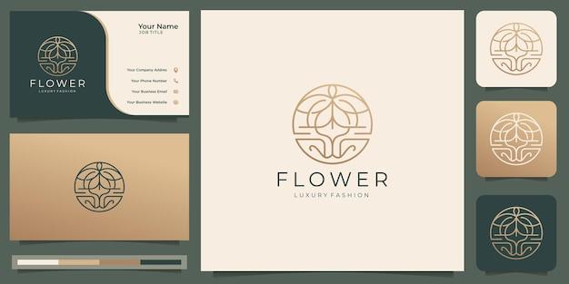 원형 모양 디자인의 기하학적 꽃 로고 선 스타일 개념. 골드 컬러 로고와 명함.