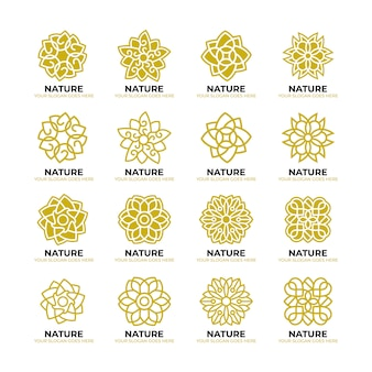 Geometric flower nature logo template