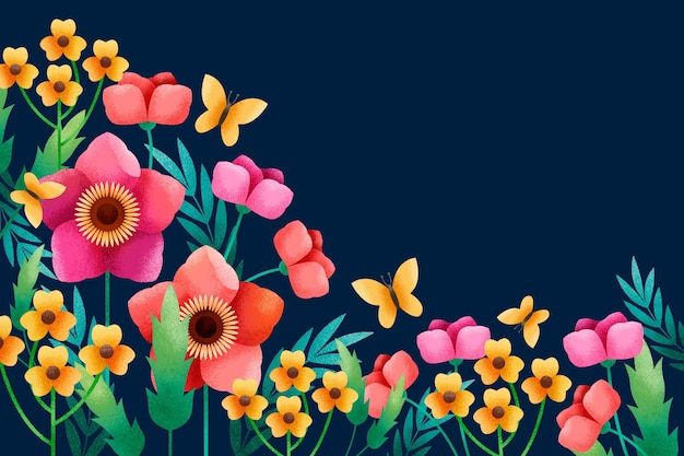 곡물 효과 배경으로 기하학적 꽃과 잎