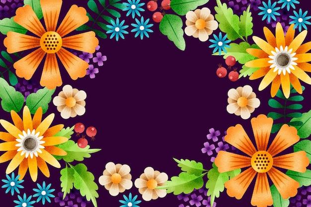 곡물 효과 배경으로 기하학적 꽃과 잎 프리미엄 벡터