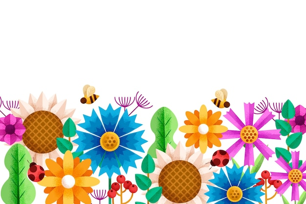 Geometric flowers background with bees