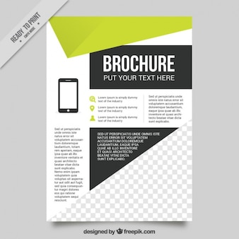 Geometric flyer template with green details