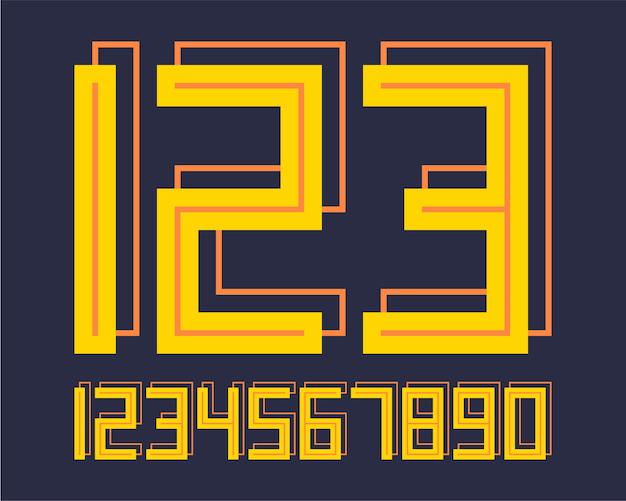 Geometric font 3d effect design numbers