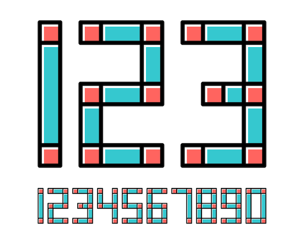 Geometric font line style effect design numbers