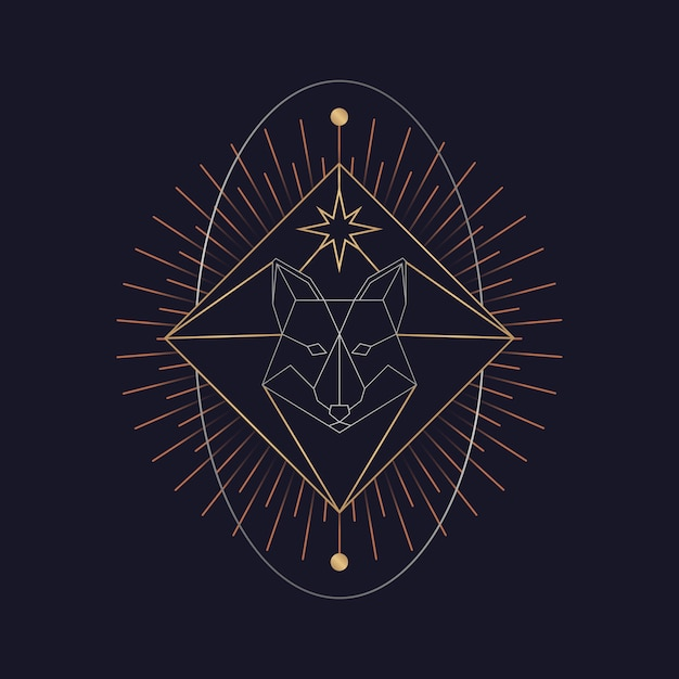 Carta di tarocchi astrologici volpe geometrica