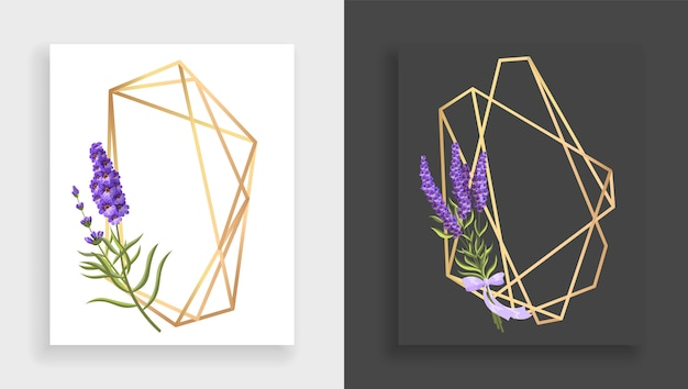 기하학적 프레임 다면체. 나뭇잎과 라일락의 추상 골드 꽃 프레임