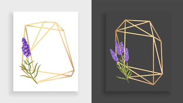 Geometric frame polyhedron. abstract gold floral frame with leaves and branch of lilac.