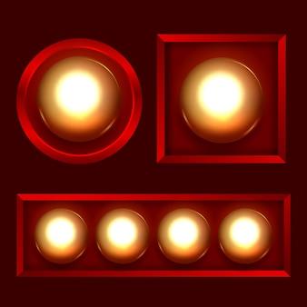 ライトがセットされた幾何学的なフレーム