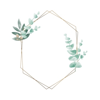 Geometric frame with leaves vector