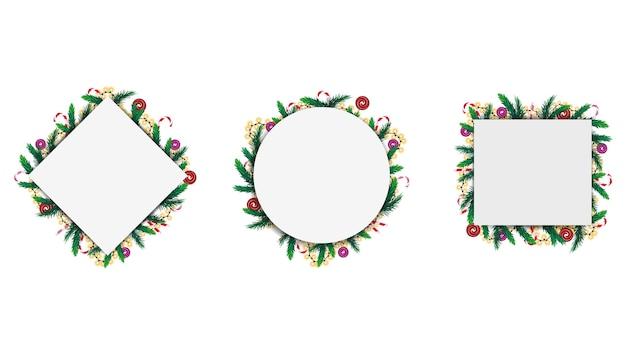クリスマスツリーの枝で作られた幾何学的なフレーム