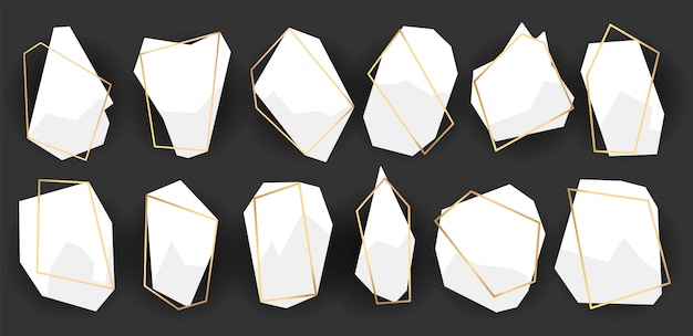 Geometric frames polyhedrons. abstract gold frames set