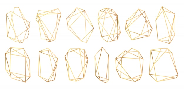 Geometric frames polyhedrons. abstract gold frames.