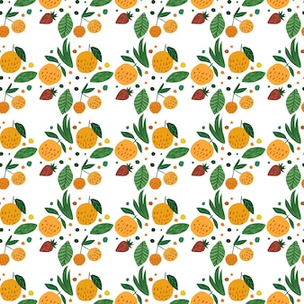 Geometric fruits seamless pattern. funny garden fruit. cherry berries, apples, strawberry and leaves hand drawn wallpaper.