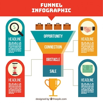 Geometric funnel infographic