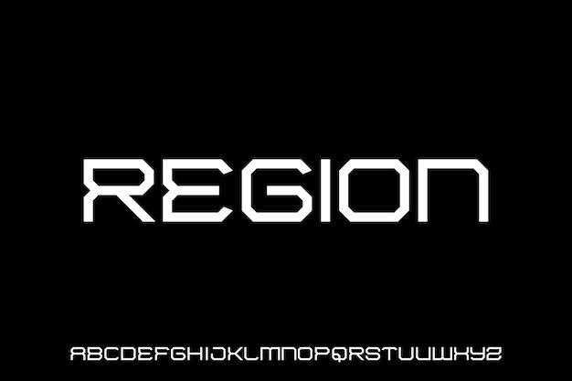 Geometric futuristic modern science fiction font alphabet