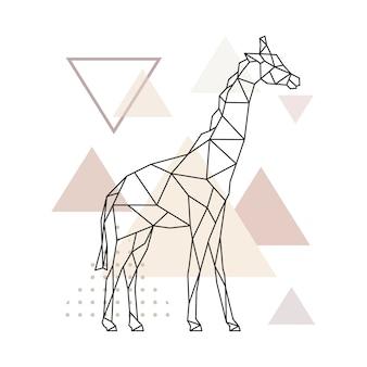 単純な三角形の背景に幾何学的なキリン。