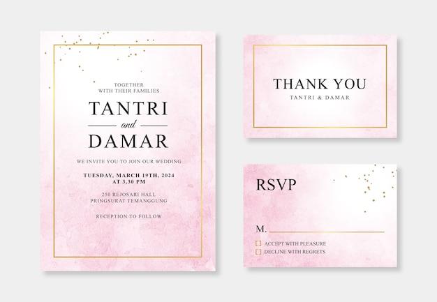 豪華な結婚式の招待状テンプレートの幾何学的な金と水彩の水しぶき