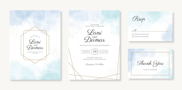 Geometric gold wedding invitation card template with watercolor background and sparkle