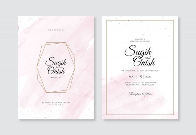 結婚式の招待状のテンプレートの手の水彩画のスプラッシュと幾何学的なゴールド