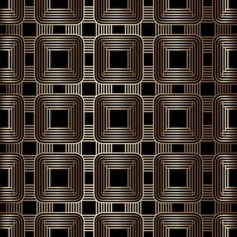 기하학적 황금과 검은 색 원활한 선형 패턴, 아트 데코 스타일